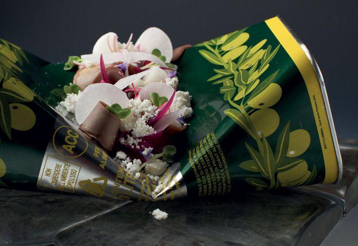 Salát z jeleního jazyka, ředkviček, gelu wasabi a dresinku z mandarinky a zázvoru : Jan Kaplan