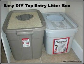 Easy DIY Top Entry Litter Box to help contain litter scatter and smell.  This has been very popular with my readers because it's easy to make and MUCH less expensive than the store bought version.