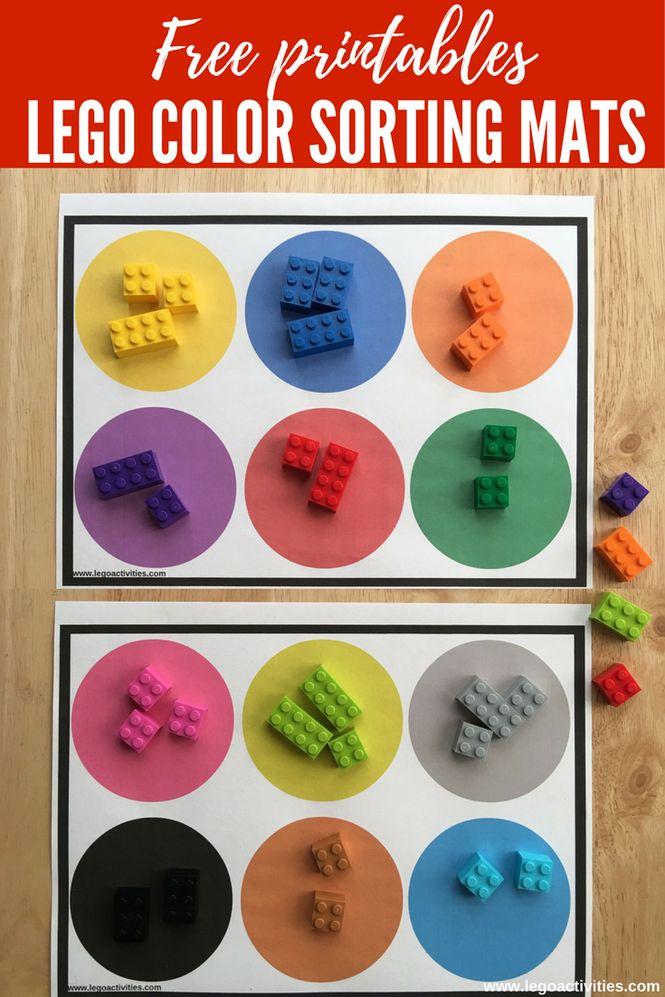 Free printables: LEGO color sorting mats   Actividad para clasificar por colores ladrillos LEGO   www.legoactivities.com