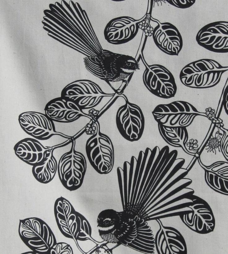 Fantail bird Tea towel.