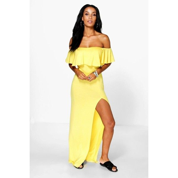 Boohoo Lola Ruffle Split Side Maxi Dress ($30) ❤ liked on Polyvore featuring dresses, yellow, night out dresses, holiday party dresses, white mini dress, maxi party dresses and yellow dress