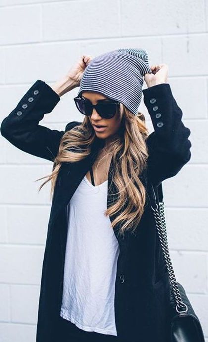 #winter #fashion / coat + beanie
