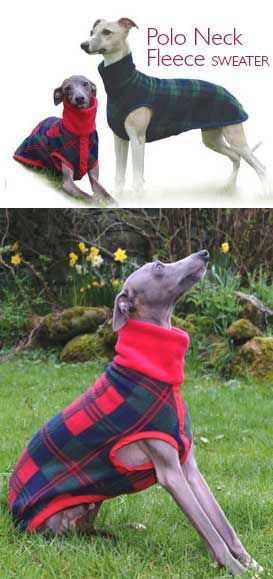 Polo Fleece Whippet Sweaters - Made to Measure, one layer of fleece and without fastenings.  Made from Polar fleece with a slight stretch, these sweaters are perfect for keeping your whippet snug and warm whilst our exercising or curled up in the car.  Pricing is based on Measurement A from the drop down menu below, select that measurement and the Sales Price will automatically update for you.