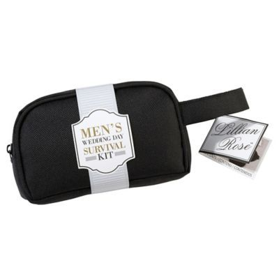 Give your man a sweet gift for the wedding with the Men's Wedding Survival Kit from Lillian Rose. Designed to take care of small emergencies, this adorable gift includes, safety pins, sewing kit, Band-Aids and more to take care of him on that special day.