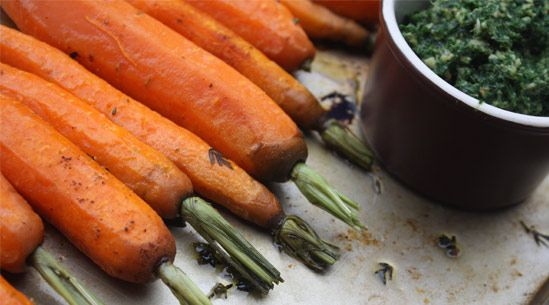 Roasted Baby Carrots with Almond Carrot Top Pesto