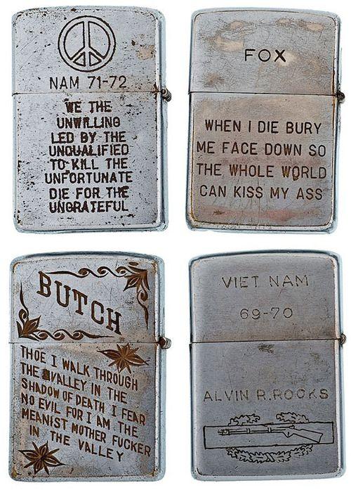 iloveeucalyptus:  quicksilvermad:  Soldiers' Engraved Zippos...