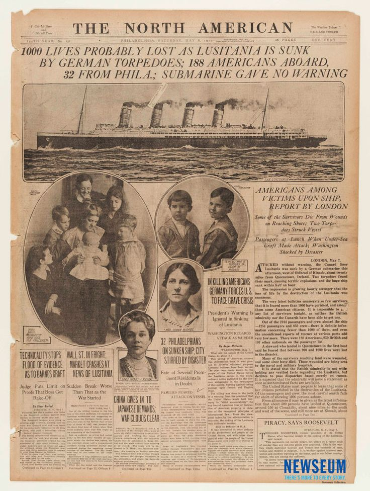 Sinking of the Lusitania The North American