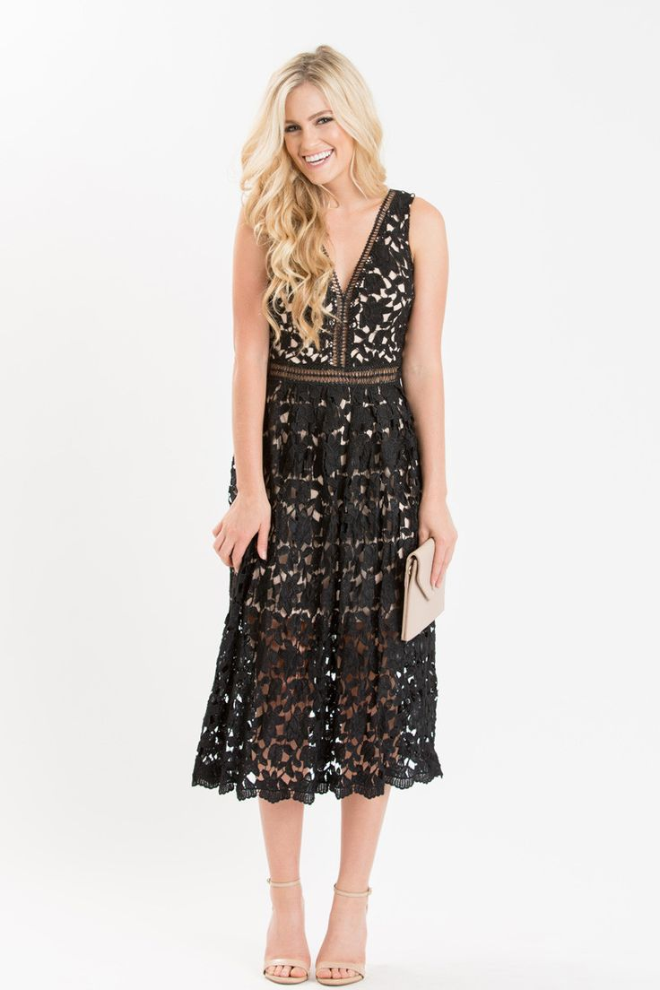 Who can say no to a black lace dress? This girly and flirty sleeveless midi dress has a flattering neckline and fit and flare silhouette! The crocheted lace and nude lining make this a bold little bla