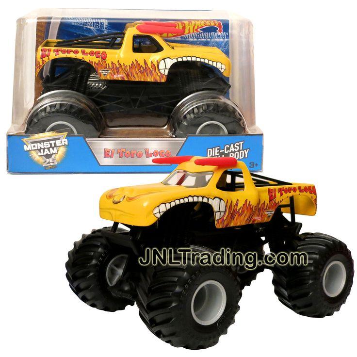 Hot Wheels Year 2017 Monster Jam 1:24 Scale Die Cast Metal Truck - Yellow EL TORO LOCO DWN94 w/ Monster Tires, Working Suspension & 4 Wheel Steering