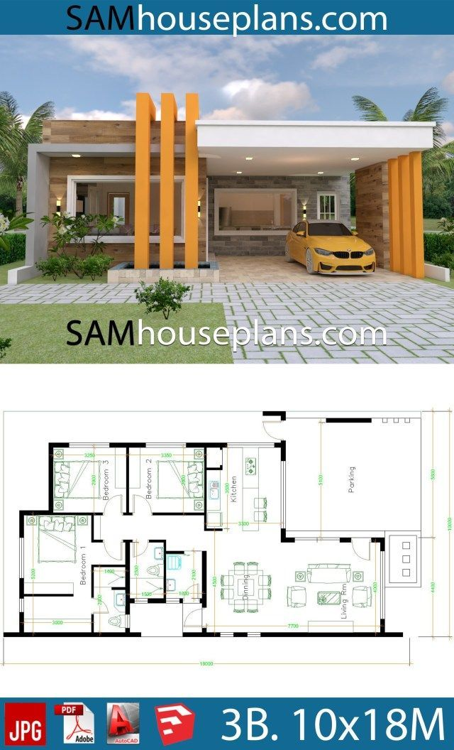 House Plans 10x18 With 3 Bedrooms Full Plans Modern Bungalow House Model House Plan Modern Style House Plans