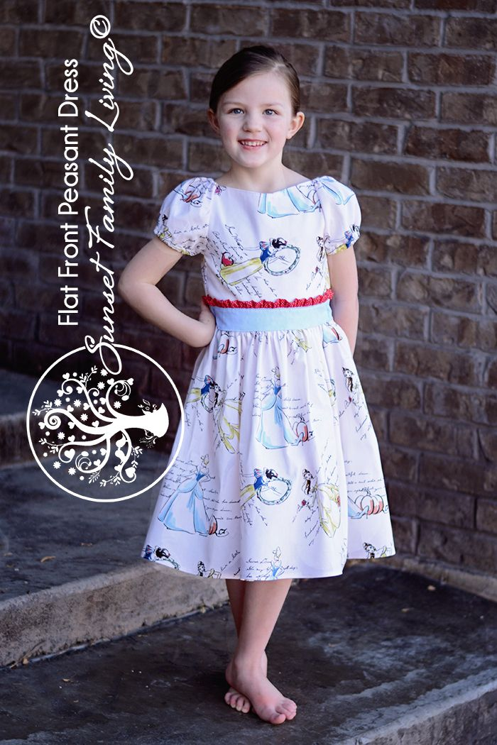 Flat Front Peasant Dress free tutorial from Sunset Family Living