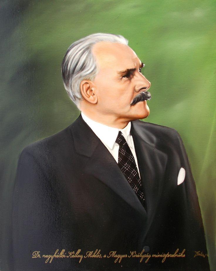 Dr. nagykállói Kállay Miklós,a Magyar Királyság miniszterelnökének portréja 40x50 cm-es olajfestmény