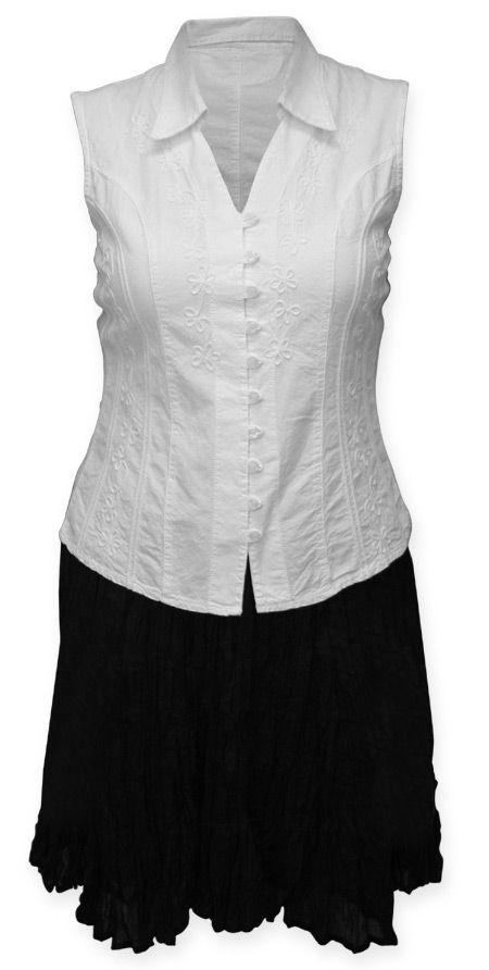 Buena Vista Sleevceless Blouse and black skirt, steampunk emporium