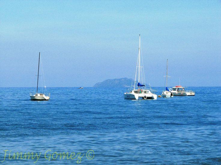 Boats of the coast of Rincon, Puerto Rico.