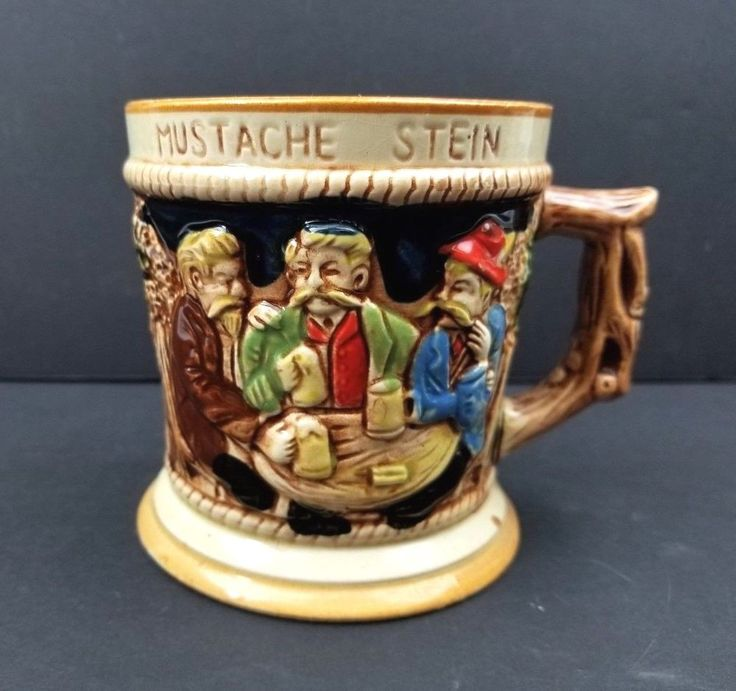 Vintage Lego Japan Large Ceramic 3d Bar Scene Mustache Beer Mug Stein Coffee Cup Tavern 3 Men In Pub Drinking
