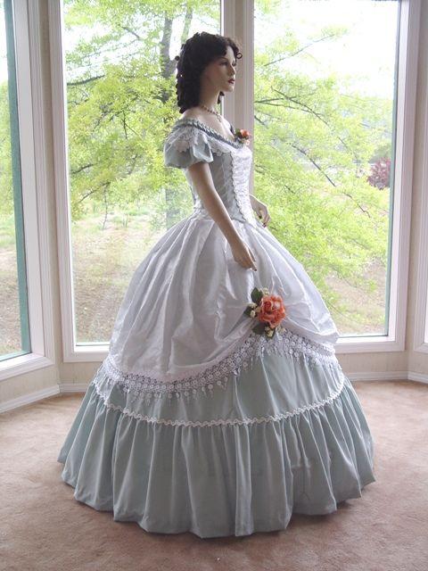 Civil War Ball Gown Dress pink   greendress3.jpg (150618 bytes)