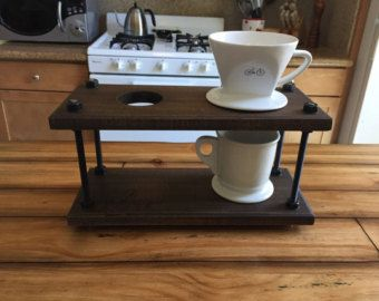 Pour Over Coffee Stand van Brightlibros op Etsy