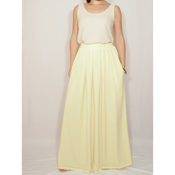 Pale Yellow Skirt Chiffon Maxi Skirt High Waisted Maxi Skirt With... ($45) ❤ liked on Polyvore featuring skirts, silver, women's clothing, yellow maxi skirt, high-waisted skirts, long maxi skirts, maxi skirt and long skirts