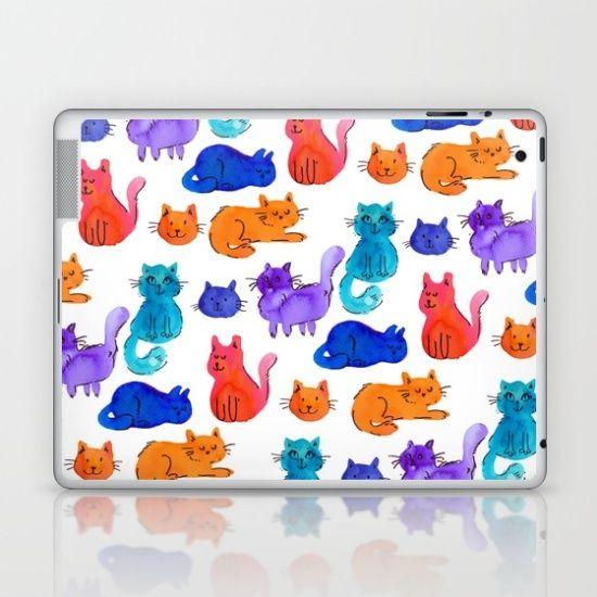 Fluffy Watercolor Cat Pattern Laptop & iPad Skin