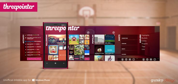 Dribble App for Windows Phone - threepointer ( Unofficial)