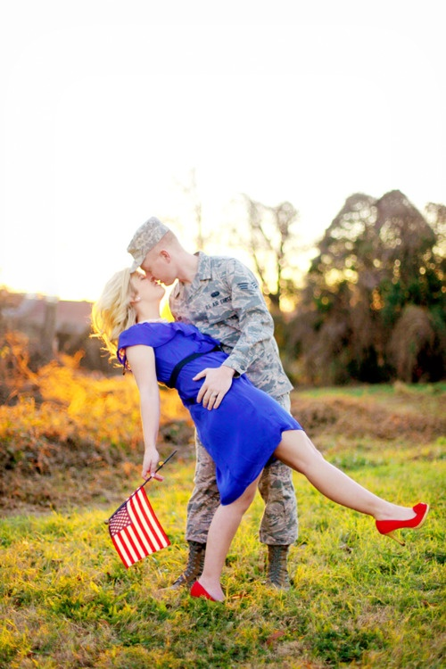 patriotic: Photos Ideas, Engagement Photos, 4Th Of July, Engagement Pics, Photos Shoots, Hair Style, Military Love, Engagement Shoots, Army Wives