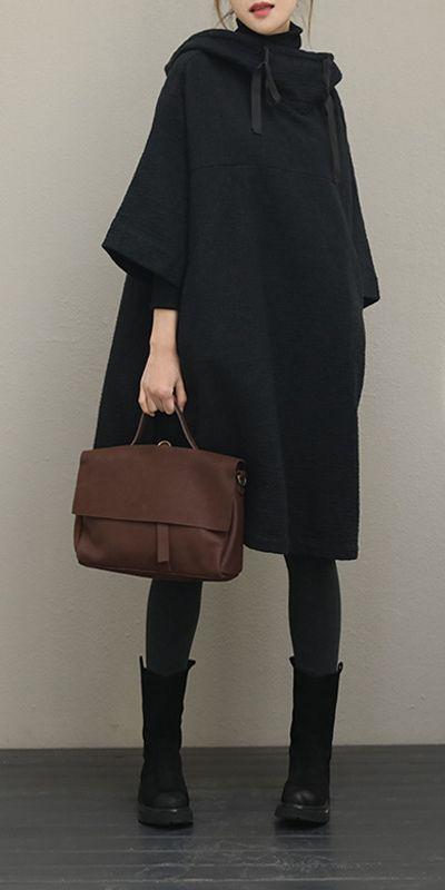 Schwarzer Kapuzenpullover Lose Mantel Kleider Frauen Baumwolle Leinen Outfits QT363