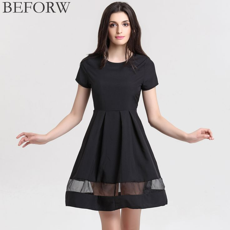 BEFORW Brand Women Dresses Fashion Round Neck Solid Casual Summer Dress Plus Size Splice Sexy Dress Black Vintage Office Dresses-in Dresses from Women's Clothing & Accessories on Aliexpress.com | Alibaba Group