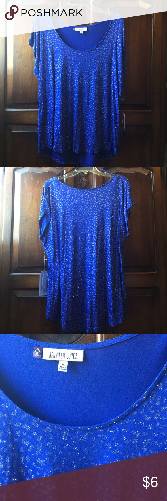 Blue and silver Blouse This is a blue with silver designs Blouse from the Jennifer Lopez line from Khol's. It's brand new with tags in great condition! Jennifer Lopez Tops Blouses