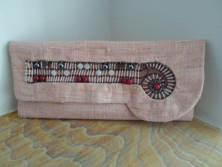 Handmade Linen - Silk beaded Clutch bag