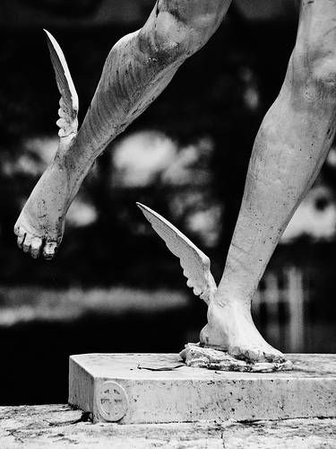 The messenger of the gods, Hermes, has winged feet or in some stories winged shoes. In the Percy Jackson series, they use winged shoes to help them on their quest.