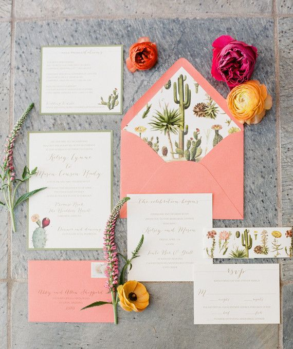 Arizona inspired wedding invitation suite with cactus and bright flowers.