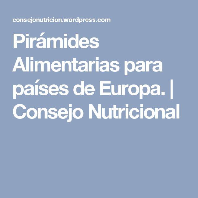 Pirámides Alimentarias para países de Europa. | Consejo Nutricional