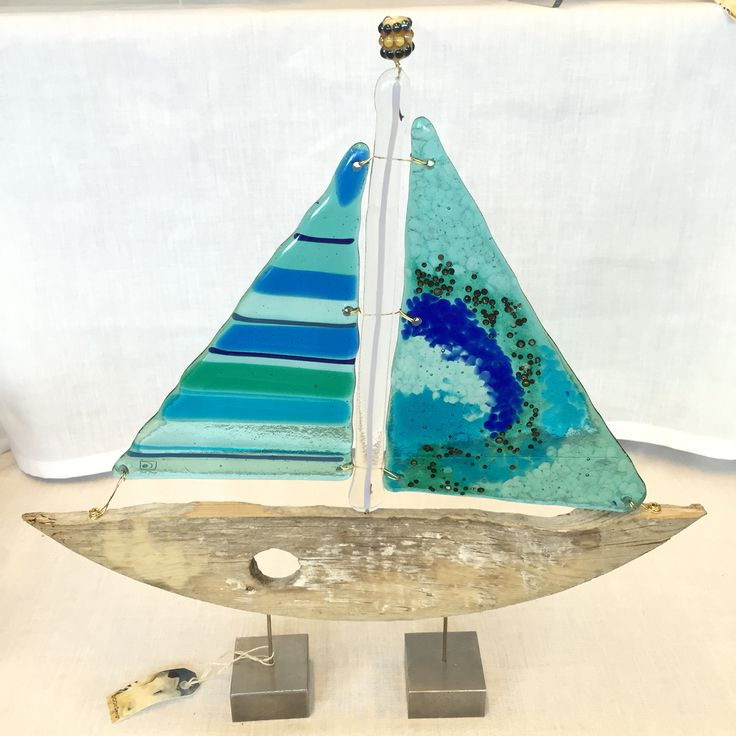 Fused glass and driftwood - sailboat.