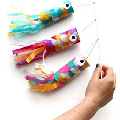 Fish kites (made from toilet paper rolls & colored tissue paper scraps)