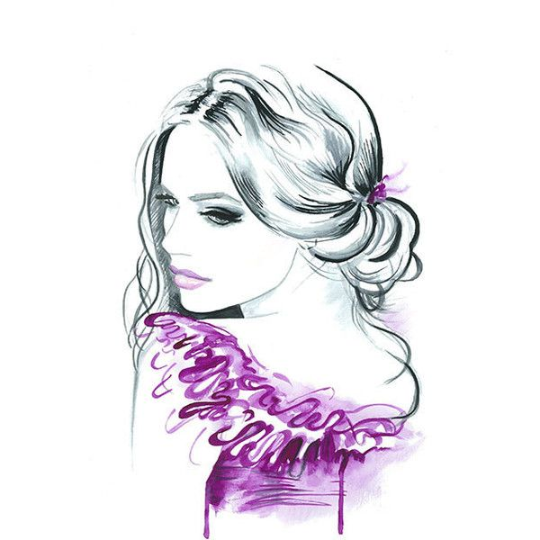 Print from Original Watercolor Fashion Illustration Modern Art Portrait Painting titled Sensual ($22) found on Polyvore