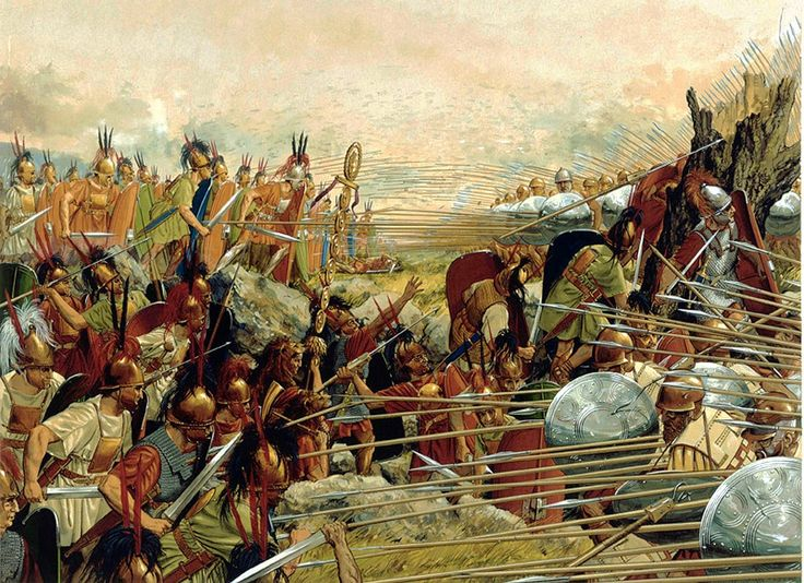 A Macedonian Phalanx fighting the Roman legions. The Romans were the first to truly realize the weakness of the phalanx and the Hoplite.