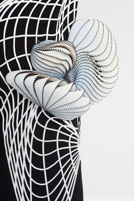 Innovative Textiles Design - monochrome fabric with 3D-printed elements adding contour & texture; textile manipulation // Noa Raviv