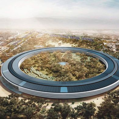 """Apple Campus: Designers: Foster + Partners, ARUP (Engineers), OLIN (Landscape) Year: 2012 - 2016  The new Apple Campus will sit on a 176-acre plot in the South Bay city of 60,000. The massive donut of a building is the jewel of the campus - a 4 storey ring with 13,000 engineers and designs under one roof. Foster and Partners architects working on the project summed the building up as """"one of the most environmentally sustainable projects on this scale anywhere in the world."""" The plan is for…"""
