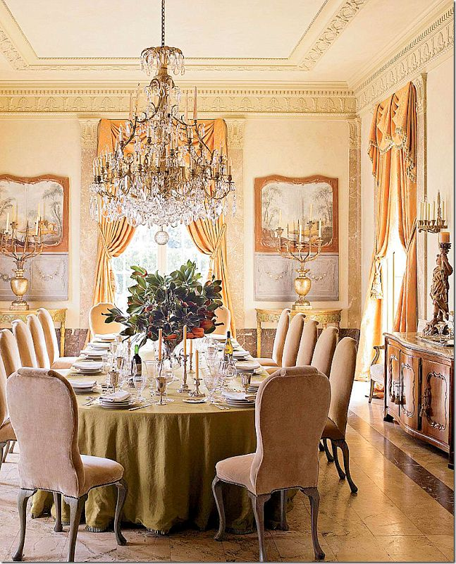 Houston home designed in 1930 by the renowned architect John F. Staub The dining room is another favorite with its stone floor and chandelier that is original to the house. I love the skirted table with just a hint of trim showing! The chairs are Georgian and are in a blush velvet – so soft and feminine. The moldings are gorgeous in this room – and it's hard to tell – but, is that a painted or marble wainscot?