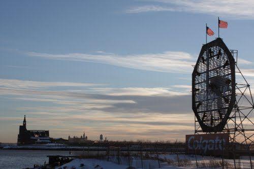 Colgate Clock in Jersey City - December 2011 Snowstorm