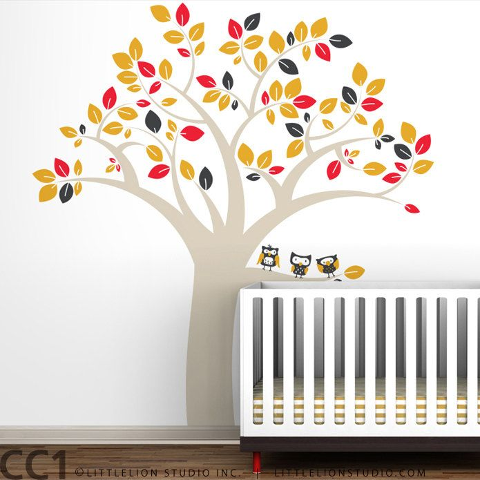 Owl Tree Extra Large Wall Decal - Fun, large owl tree decal - Modern Kids Wall Mural - Brown, red, charcoal, yellow and more colors. $136.00, via Etsy.