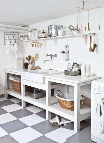 I think this is a laundry room, but could make a nice simple kitchen as well. Double vessel sink, open shelving.