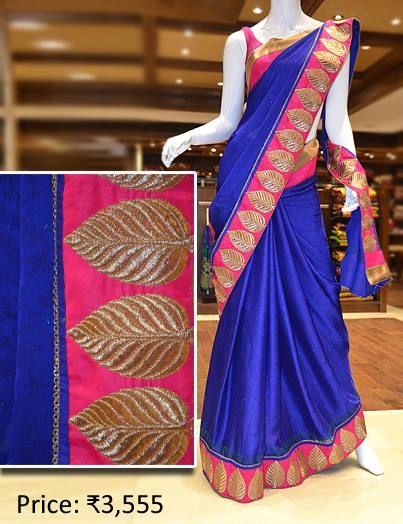 Designer saree in bold blue with satin patch border. Visit Pothys Boutique, G N Chetty Road, T Nagar, Chennai, to view the finest range of designer sarees in the city.