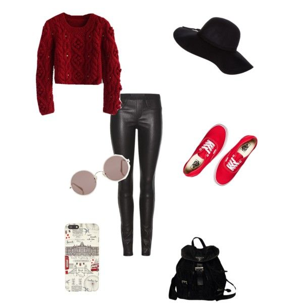 Winter Rock time. Leather black leggins with red sweater and Vans slippers. Accesories: hat - sunglasses- I phone and Prada Backpack by claudette15 on Polyvore featuring polyvore, Belleza, Sunday Somewhere, Dorothy Perkins, Harrods, Prada, Chicwish, Helmut Lang and Vans