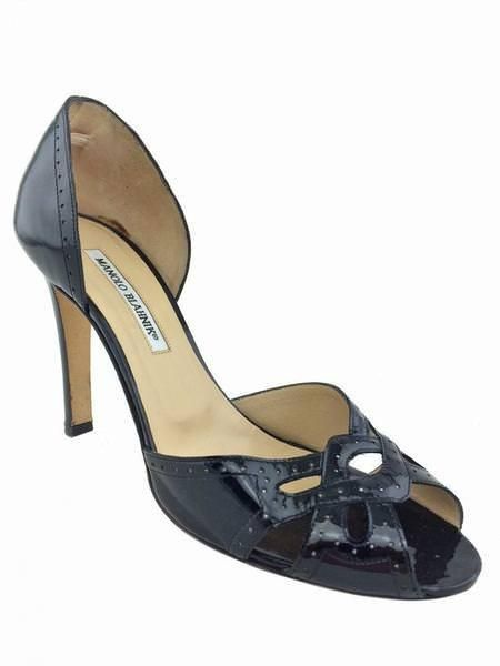 c77a747683a Manolo Blahnik Patent Leather Peep Toe d Orsay Pumps Size crafted in glossy black  patent leather with perforated details.