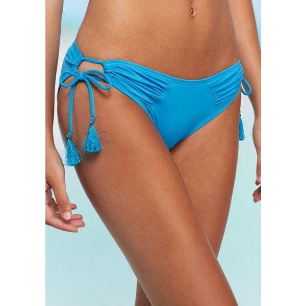 Vince Camuto  Cheeky Bikini Swim Bottom ($32) ❤ liked on Polyvore featuring swimwear, bikinis, bikini bottoms, misty blue, cut out bikini bottoms, ruched bikini, blue bikini bottoms, cutout bikinis and sport bikini