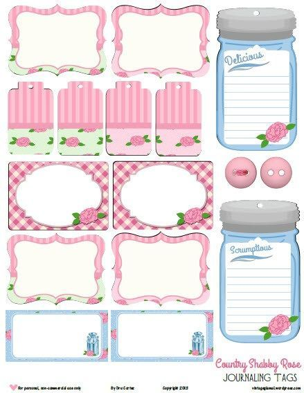 shabby rose tags, preview, freebie