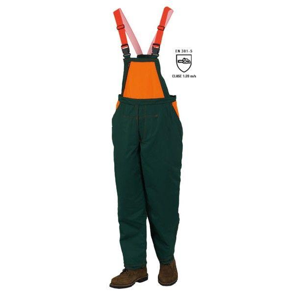 #PETO LEÑADOR 08935N EN 381-5 CLASSE 1:20 m/s Composición: 68% poliéster 32% algodón. Protección sobre la parte delantera de la pierna a 180º + 5 cm. Elástico en la cintura, tirantes elásticos ajustables con hebilla de plástico. Bolsillo cerrado con cremallera en el pecho, dos bolsillos en el pantalón y otro posterior. Talla: M-L-XL-XXL Color: verde/naranja Especialmente indicado para trabajos con motosierra.