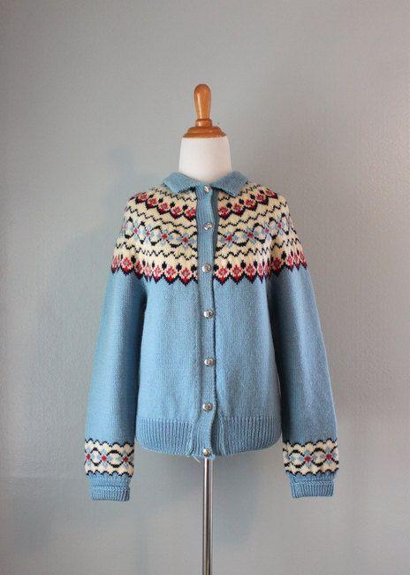 Vintage Cardigan / 1960s Fair Isle Sweater / 60s Norwegian Wool Cardigan. $52.00, via Etsy.