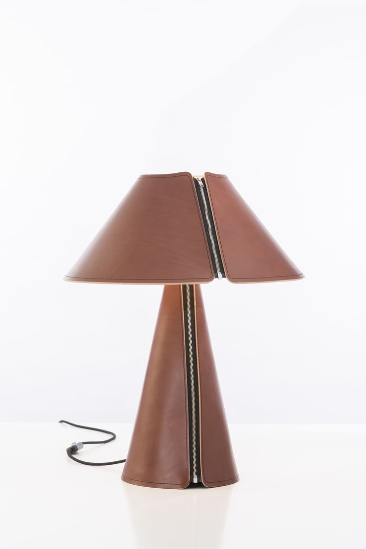 EL SENOR Table Lamp now in Cognac with Black stitching. 100% Chrome free Genuine Leather. Available at www.formagenda.com Design by Benjamin Hopf.